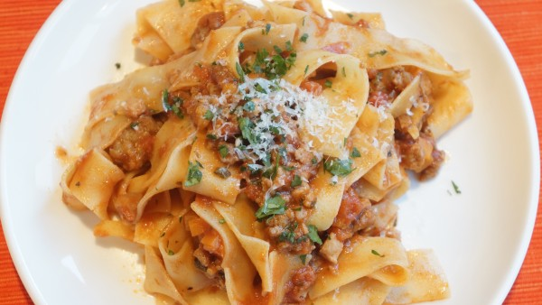 pork and sausage ragu with pappardelle